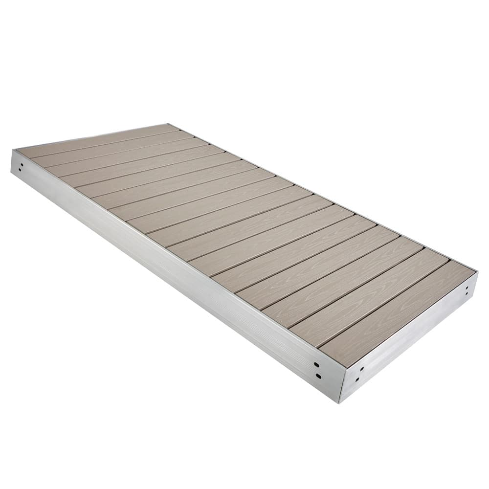 Aluminum dock section with azek pvc decking